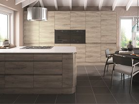 Handleless J-Pull Kitchen in Stone Elm