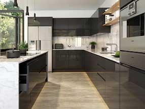 Handleless J-Pull Kitchen in Supergloss Graphite