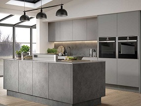 Kitchen in Magma Steel, Brushed Metal Stainless Steel and Supermatt Dust Grey